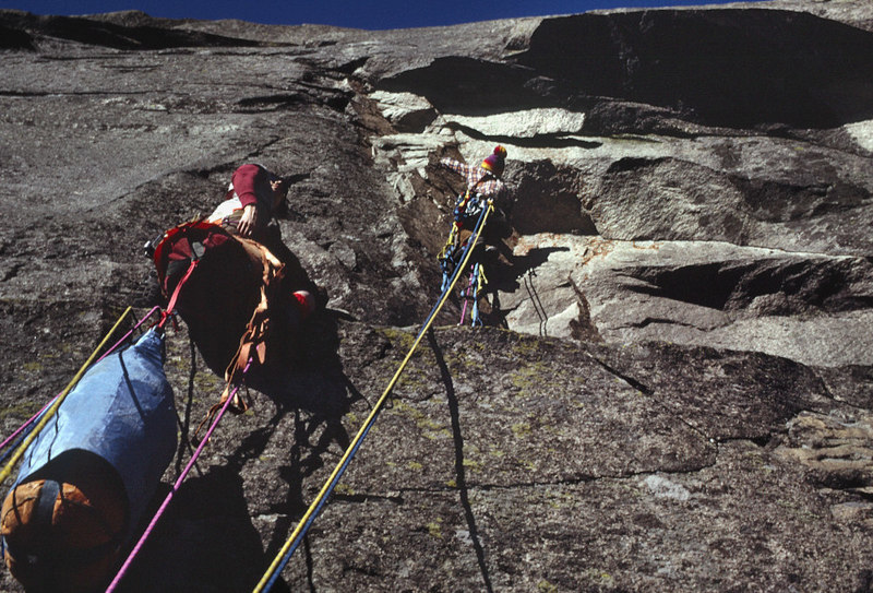 Rains leading the 3rd pitch on the first complete ascent of the Lab in Nov 1974. Rains and Hud had found the bivy ledge the week before. We then came back and completed the upper pitches of the route in deteriorating weather a week later. Spent 2 night on the wall. A fantastic journey.