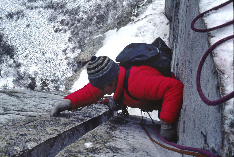 Dave Walters just below the 'Pipe' on a winter ascent of the 'WG' in 1980.