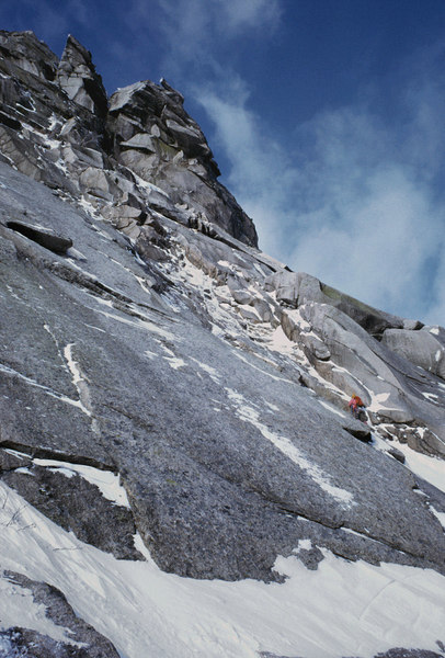 John Bragg leading on a winter ascent of Weissners in 1974.
