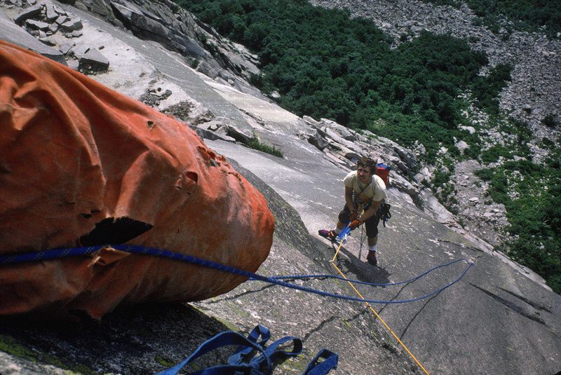 Rick Wilcox cleaning to the belay below the crux aid pitch on the first ascent of 'The Fruit Cup Wall' in August 1974.