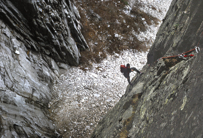 Mark Richey mid way up the wall on day 2 of the FA of 'Across the Great Divide' in 1975. Andy Tuthill subsequently added a direct finish to the route as ours came out a bit short and ended up on the last pitch of the WG.