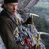 John Bragg on an attempt at a winter ascent of Remission in 1975.