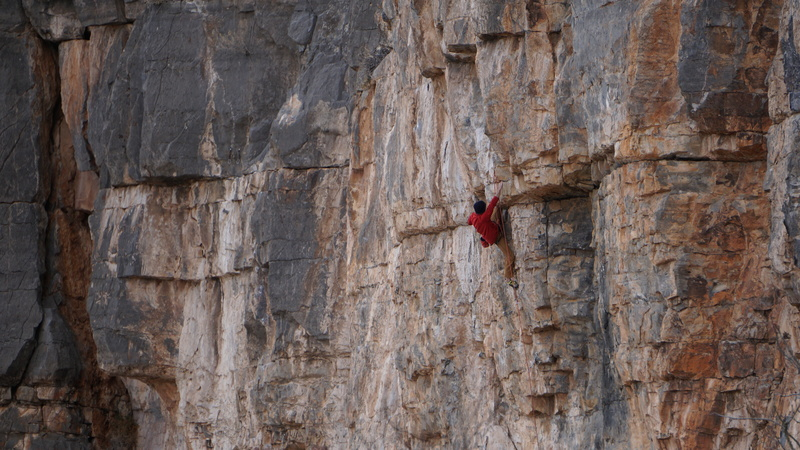 Christian nears the top of this fine route.