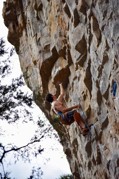 Sticking one of the crux moves