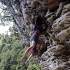 Climb to the stalactites for a double knee bar rest.