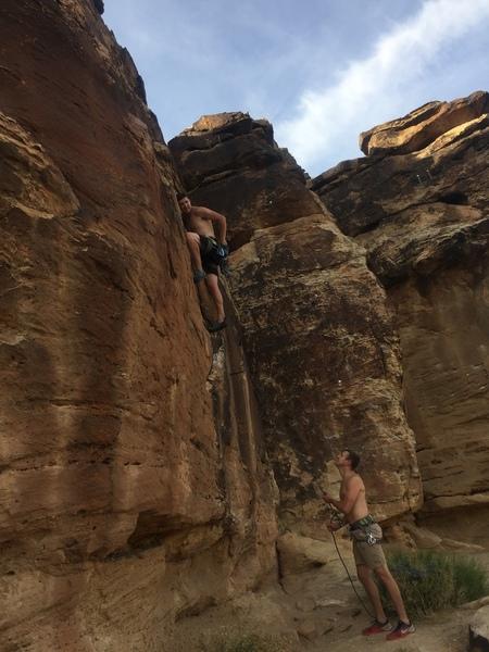 Very Bouldery start. But a good no-hands rest up higher.
