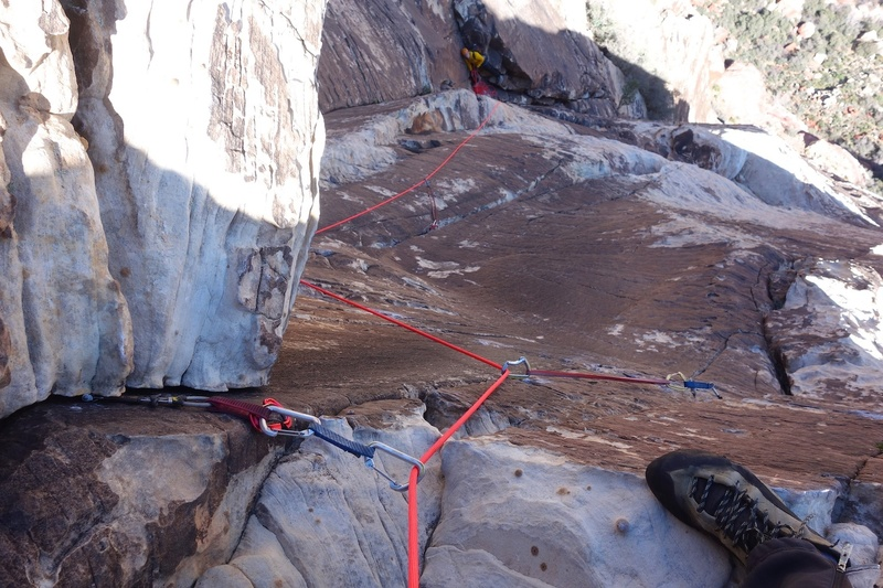 Looking down the crux (5.8) section of Pitch 4.