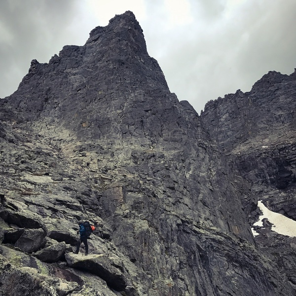 Sharkstooth looking quite ominous. Finished the climb right as a storm moved in.
