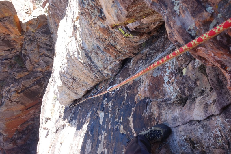 Pitch 7, the only fully trad pitch on the route.