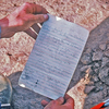 Summit register as we found it when we climbed Standing Rock in 1987.