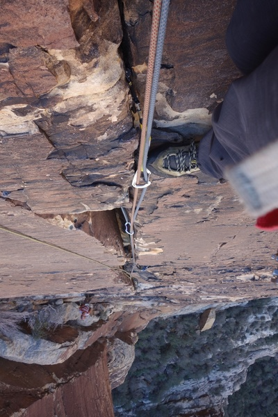 Looking down the varnished crack of Pitch 3.