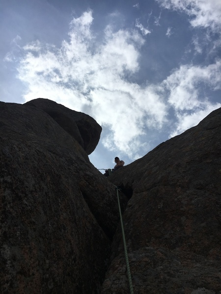 Looking up at the belay
