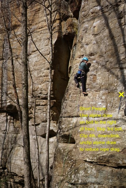 Short people bring an alpine draw, extend bolt on right, clip the 4th bolt, downclimb and unclip