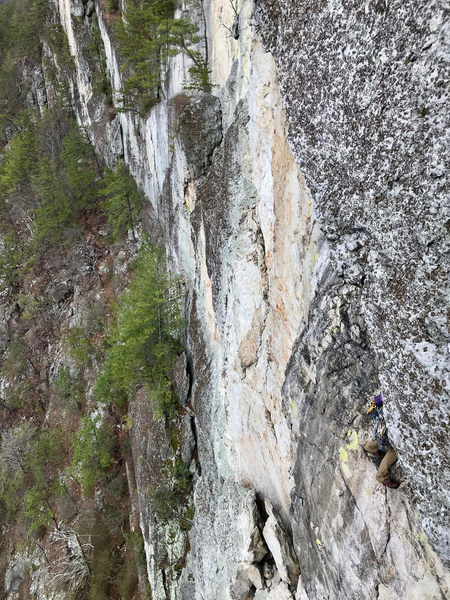 A climber on the second pitch of Pleasant Overhangs, taken from Thais Direct