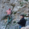 RW starts Kastraki (5b) on Kastraki cliff while Sheila belays