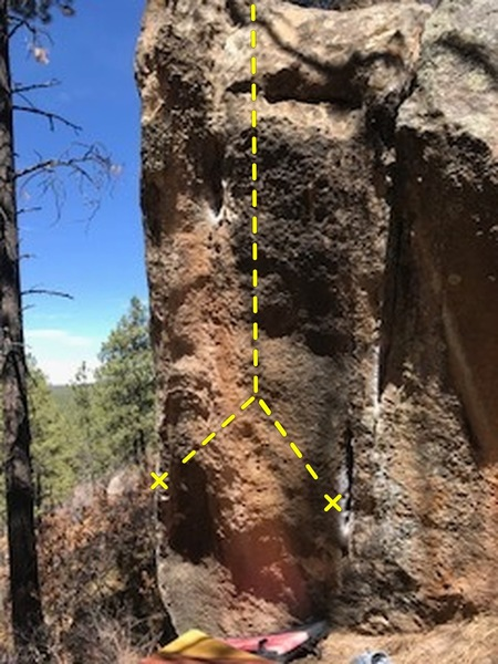 The compression climb on the right hand side of a huge slab boulder.