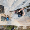 Erik puling up to the first bolt on Birdland with a solid nut and #1.