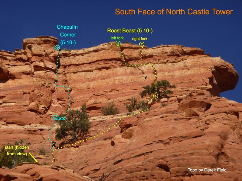 South Face routes. View is from the main saddle and is extremely foreshortened.