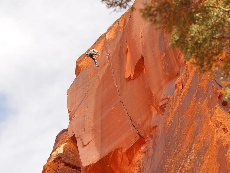 Zak taking the whipper near the top