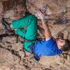 Above the head kneebar under the intermediate anchors.<br> <br> Photo: Jonathan Trites.