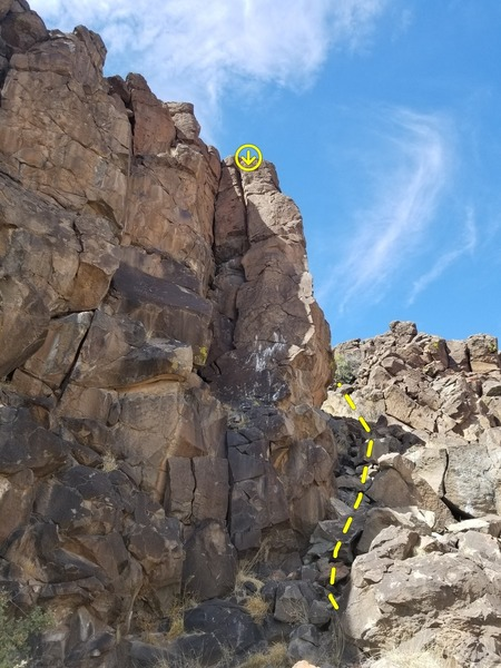 Small landslide at end of wall, makes for easy access to top if you want to hang a toprope.