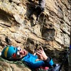 Belaying from the boulder on this short route