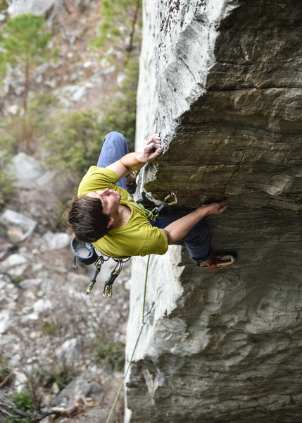 Josh Lipko just above the low crux.