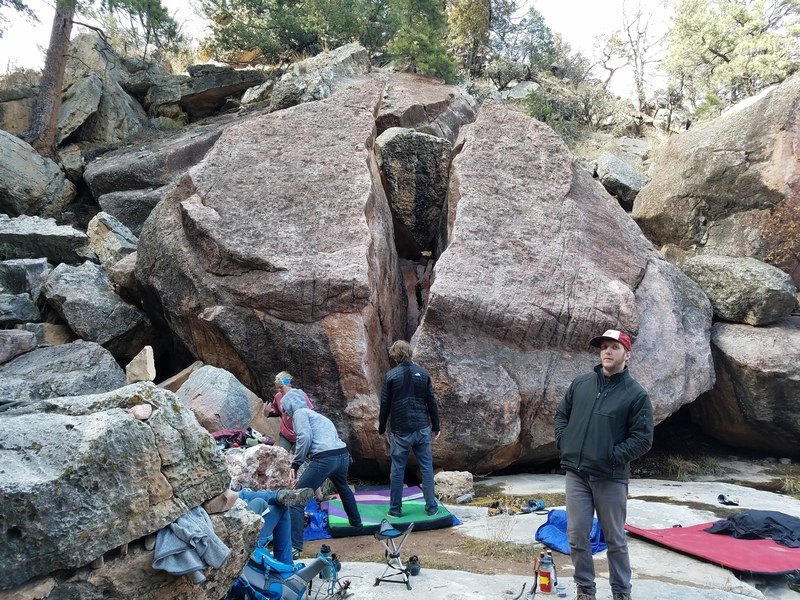 The Cracked Egg boulders themselves.<br> Adam sizing up The Great Lever.<br> Looking good, Mitch, as always.