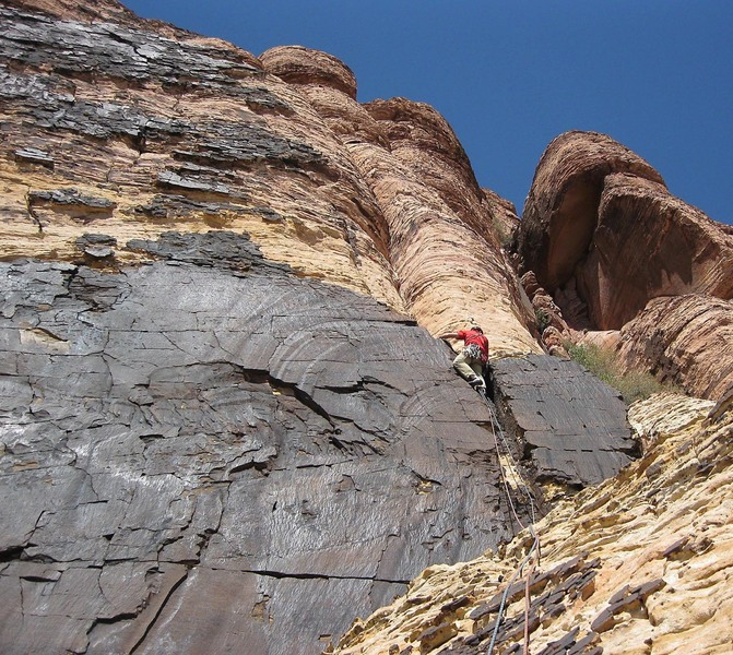 On the short jam crack at the lower right corner of the headwall