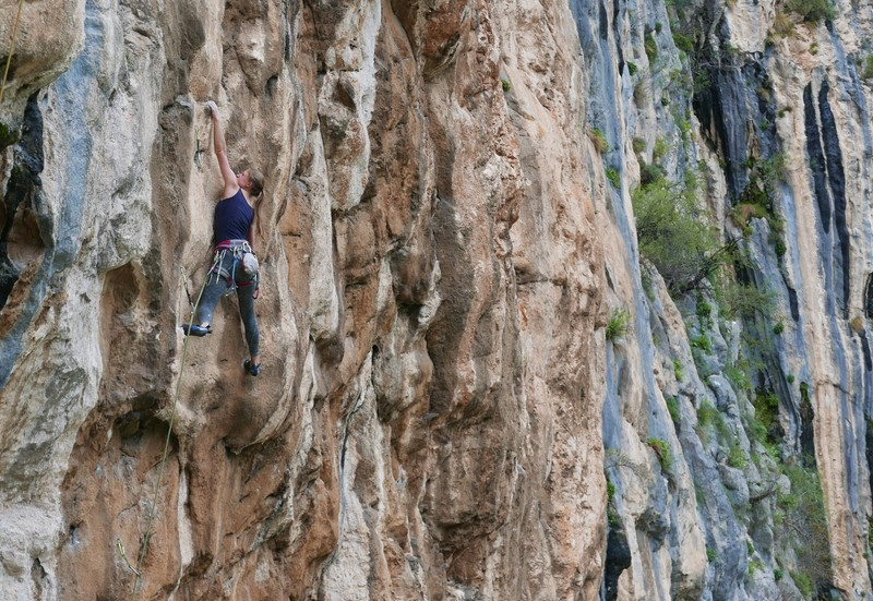 Wanda completing the crux sequence.