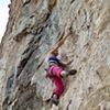 Jilian Wereb on the FA of the super fun tufa and pocket section of the climb.