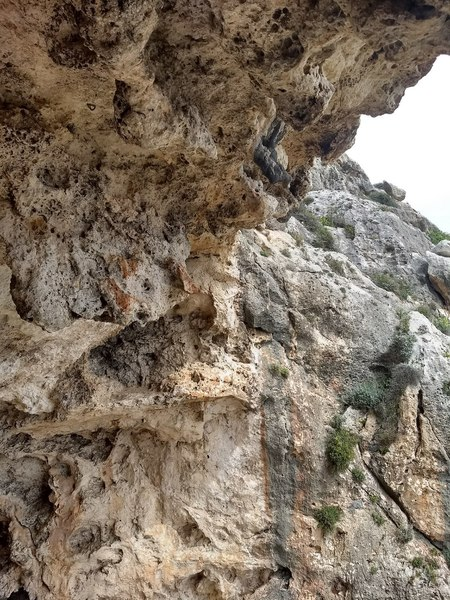 A look at some of the holds on the right side of the cave (photo from lowering)