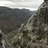View of The Prow and Linville Gorge from the 3rd pitch belay ledge.