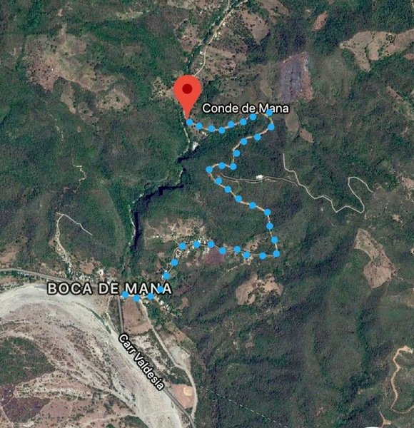 GPS to Boca de Mana then follow dirt road up and over the steep hill (blue dots)