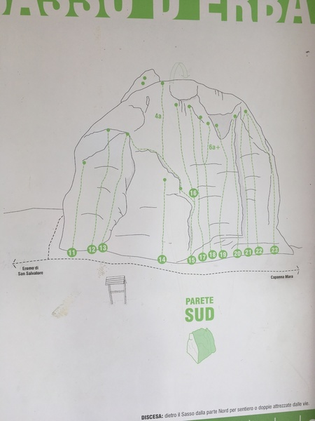 topo map for the easy side of sasso d'erba