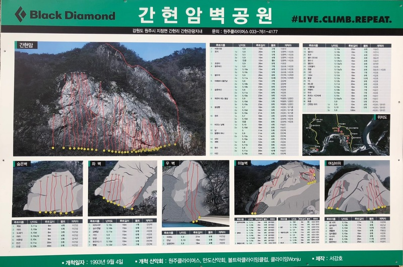 Route guide posted at the crag