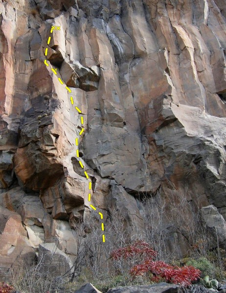 Awesome route. Photo edited and added Topo from Aquarius Rising page