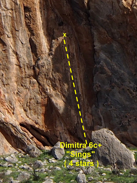 Roughly the route of Dimitra 6c+  5.11b/c
