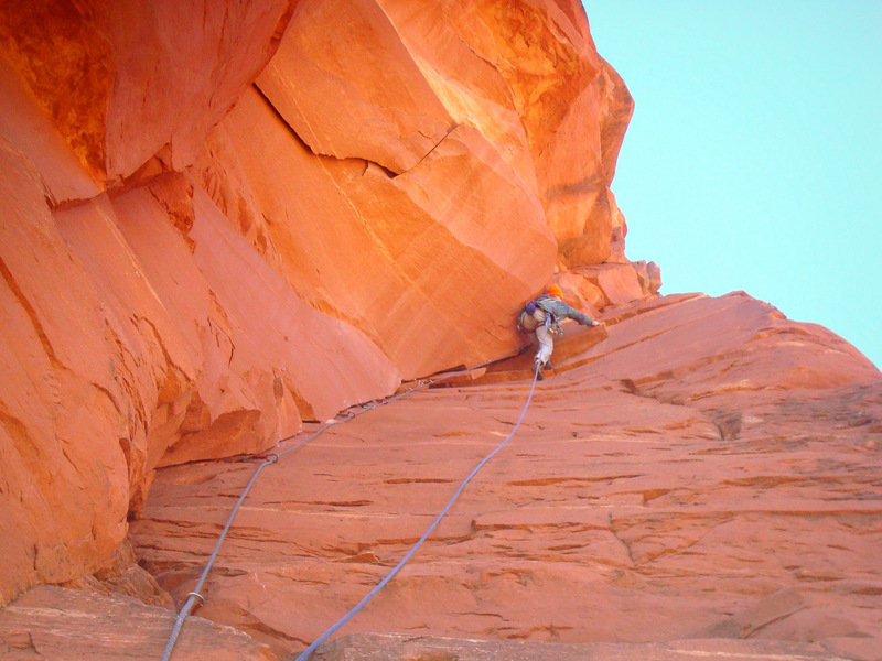 David Bloom at the 'tooth' on the first ascent of Tooth Seeker