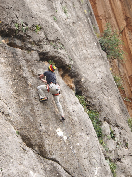"""a climber (almost certainly) on the route """"Masmagoudi"""" 6a+ (5.10a/b)"""