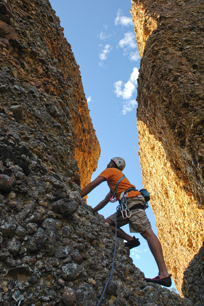 Jared Nielson looking up at the third and final pitch of The Great Chasm.