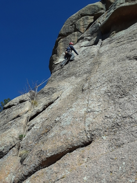 "Starting the traverse to the ""crack""."