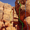 climb to the left of the cave and traverse rightish and then up. YELLOW: Chicken gumbo for your dumbo (trad) GREEN: Soup nazi (toprope) BLUE: Is it soup yet