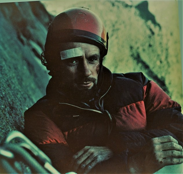 Paul Ross on the bivy top of Pitch 5 . First Ascent Labyrinth Wall July 1971