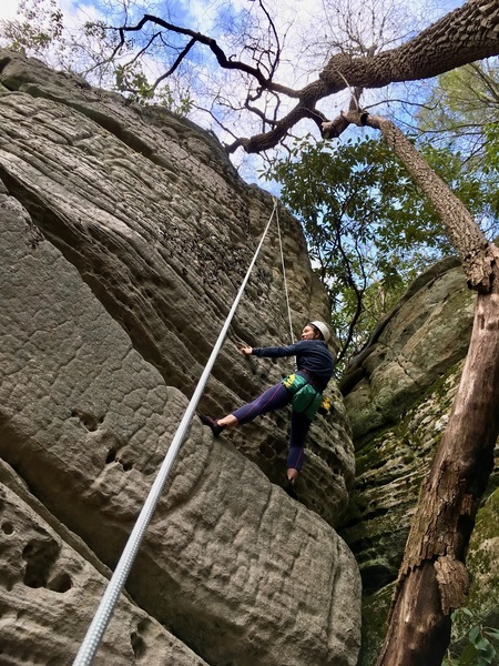 Halfway up Woodboogers - trying to solve the ledge & slight overhang