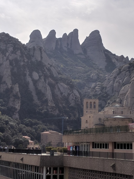 The view from the top of the Montserrat cable car. Rightmost pillar.