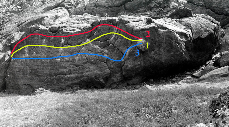 Rat rock traverse = 1<br> High travers =2<br> Low Traverse =3 <br> <br> Photo is from: http://www.beta-boy.com/nycboulderingguide/id4.html