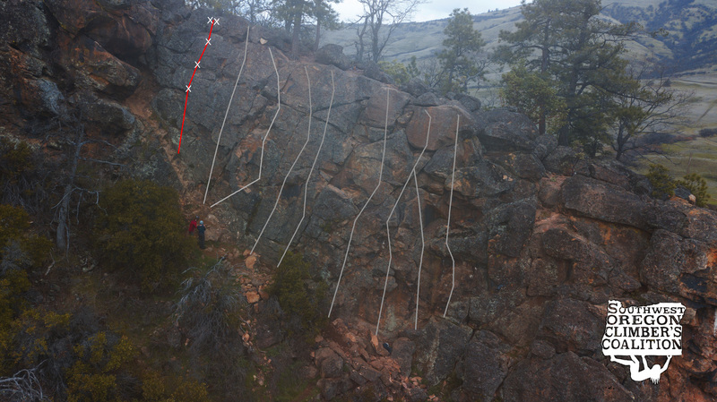 Topo of Hippie Teacher (red) in relation to other routes on the crag (gray)
