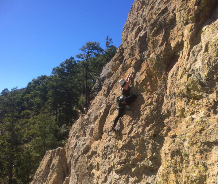 Allie Burnett on the first ascent of Therapoda.