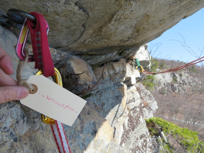 The traverse right to the small, fun overhang move on the 2nd pitch. My partner hung tags at each piece of gear, proposing to me on this climb!